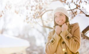 Woman with beautiful skin in winter