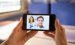 video conference call on smartphone